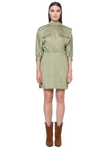 NetWork Kadın 1075996 Slim Fit Dik Yaka Mini Elbise Yeşil